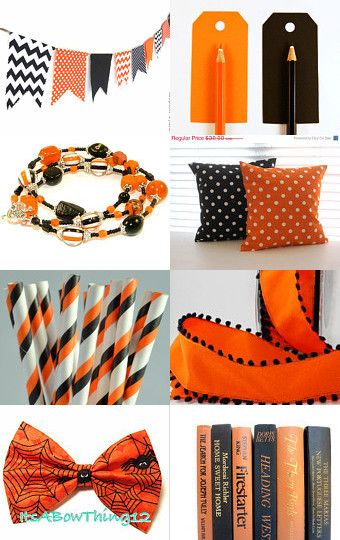 Fun Halloween colors and my triple wrap bracelet is included!--Pinned with TreasuryPin.com
