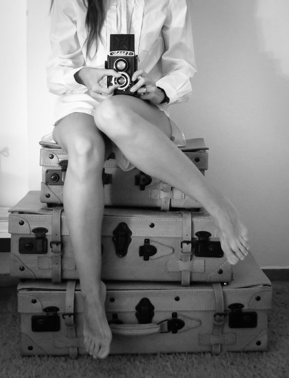 Old, vintage, retro, antique, photo, camera, photography, woman, suitcases, female, photographer, black and white