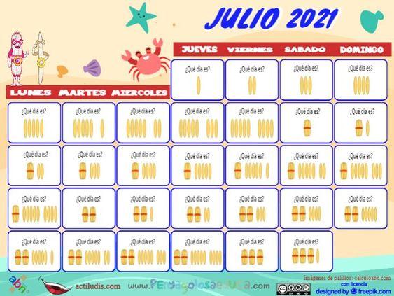 Calendario palillos infantil ABN – Julio 2021