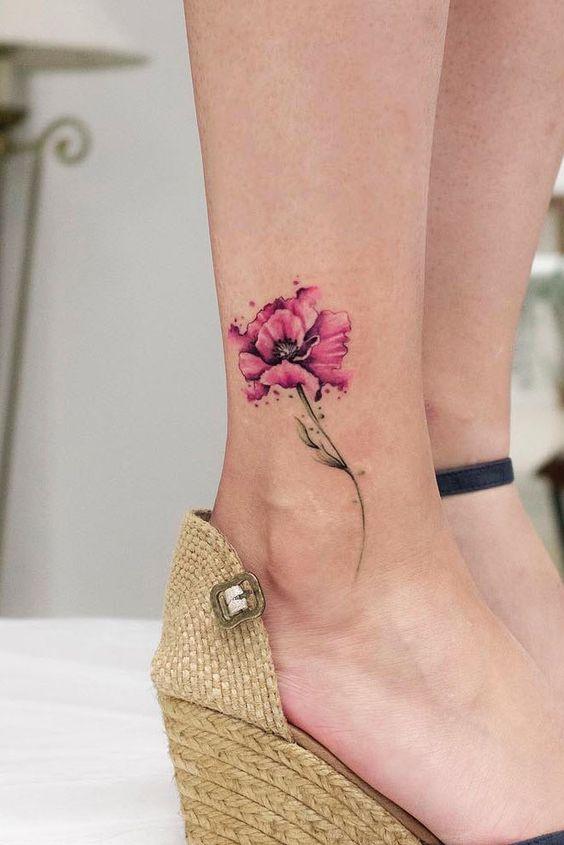 Watercolor Flower Tattoo Design #flowertattoo