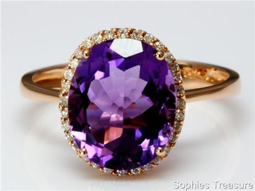 Victorian Genuine Amethyst and Diamond 18K Rose Gold Ring.
