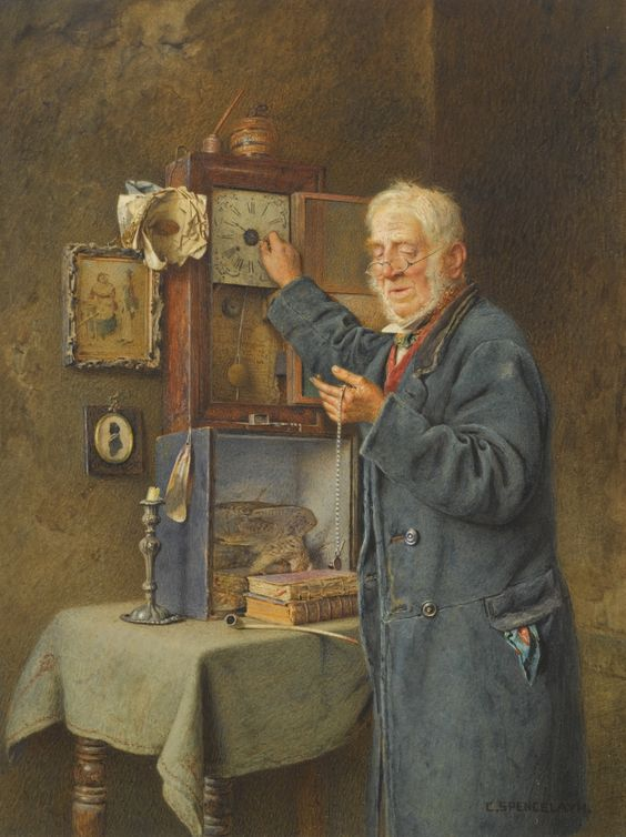 Charles Spencelayh 1865 - 1958 GREENWICH TIME signed l.r.: C. Spencelayh watercolour