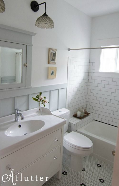 How sarah made her small bungalow bath look bigger sarah for Small bathroom looks