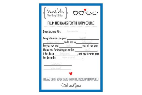 Mad Libs for Wedding Guests by M3AndCo on Etsy, $35.00
