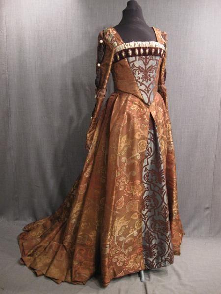 09010567 09010864 09011359 Gown Renaissance copper brown blue brocade B37-40 W28-30.JPG