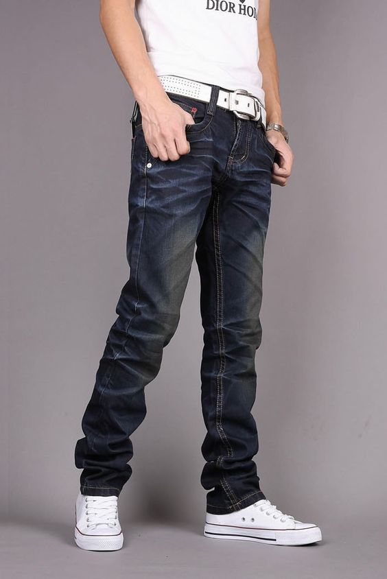 Trend Fashion Korean Slim Fit Mens' Straight Jeans XS/S/M/L/XL/XXL ...