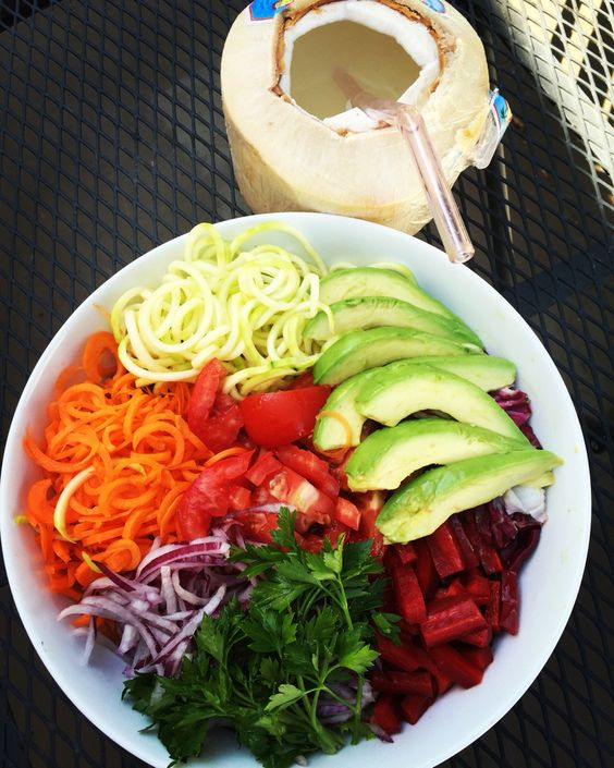 Meatless Friday...  My Bowl Of Goodness , carrot, red onion, red bell pepper, parsley, lettuce, tomato, zucchini and Young coconut water #meatlessfriday #plantbased #plantstrong #mindbodygreen #wholefoods #weightloss #fullyraw #foodporn #fitwife #foodie #fitfoodaddiction #fitduefood #lentdinner #lifestyle #loveyourself #loveyourbody #veganfoodshare #veganhealthy #healthyeating #healthylifestyle #healthychoices #healthyliving #801010 #organic #over40 #Caribbean #cleaneating