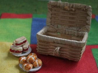 Picnic Hamper Light Colour (GA48) - Accessories. Over 10,000 similar dolls house miniature products available from www.thedollshousestore.co.uk