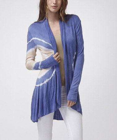 Another great find on #zulily! Periwinkle Blue Tie-Dye Swirl Open Cardigan #zulilyfinds