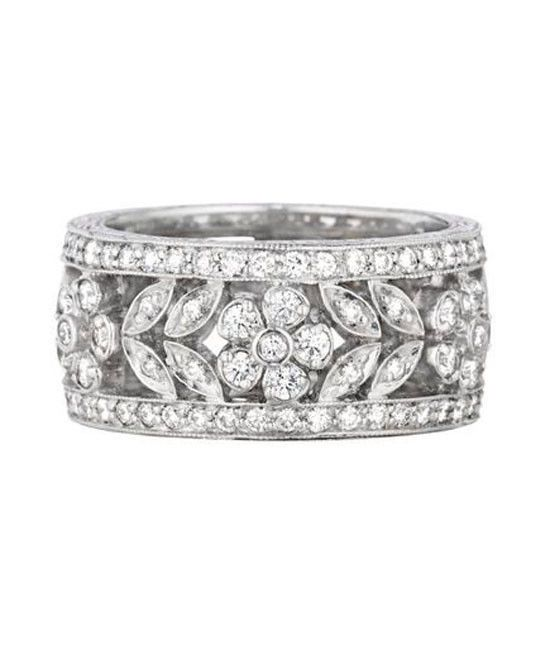 Sterling Silver Floral Design Ring with CZ stones Wedding Engagement Eternity