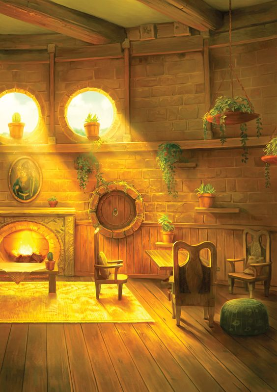 Writing by J.K. Rowling about Hufflepuff Common Room (No tiny chairs and possibly longer windows )