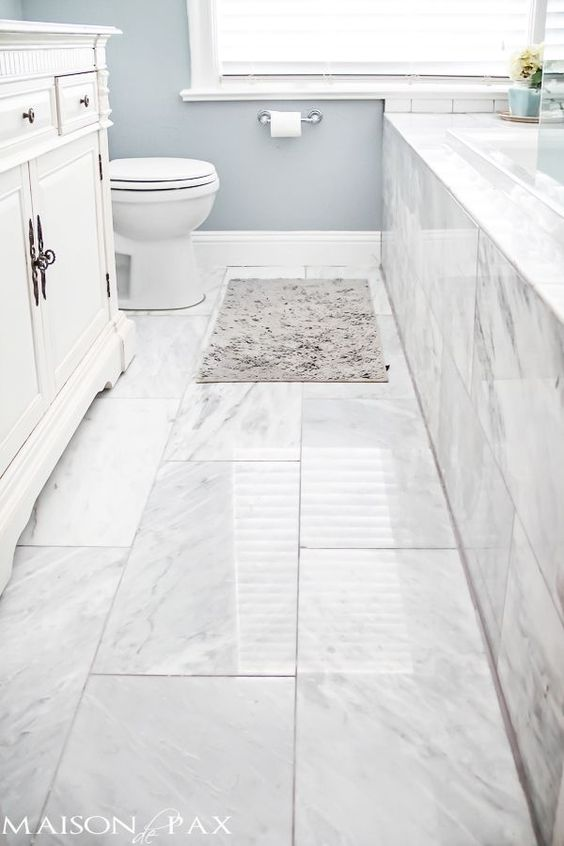 Small Full Bathroom Inspiration - the marble look on a budget