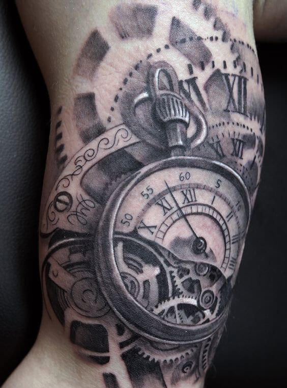 Clock Tattoos For Men Clock Tattoo Gear Tattoo Clock Tattoo Design