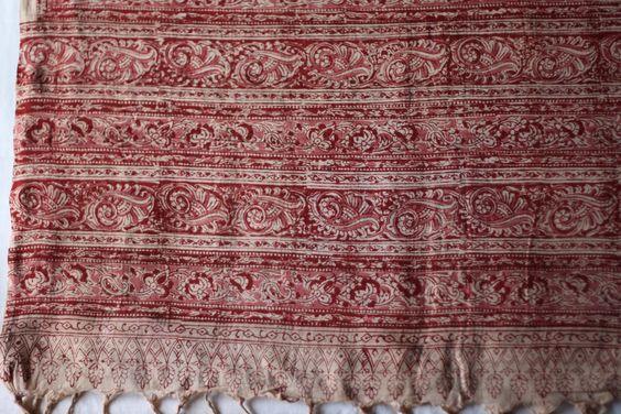 Kalamkari Block printed duppata, 100% cotton handloom cloth.  Item code : KBD105