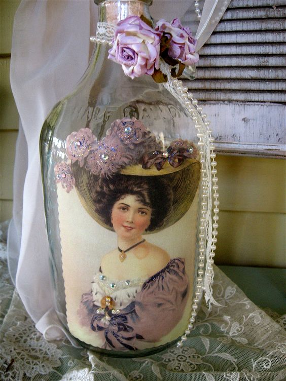Mixed Media Altered Art Bottle- Up-Cycled Glass, Victorian Lady, Vintage Rhinestones, lace