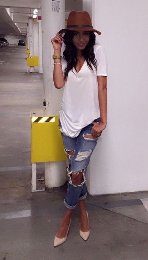 White T Shirt Blue Ripped Jeans Brown Hat Women Fashion