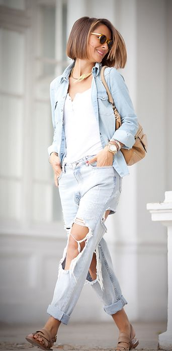 total denim look | ripped jeans | denim shirt | street style ideas by Ellena Galant