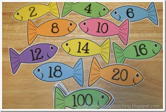 Fish cards for counting by 2s!