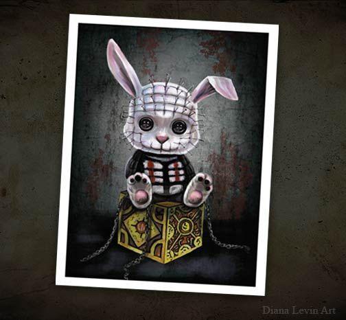 Pintura de fantasía gótica arte Print - películas de terror - Pinhead Bunny