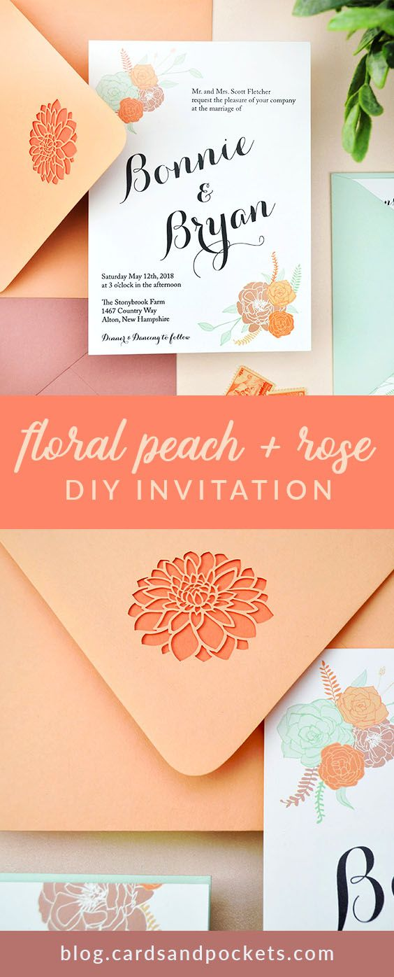 Peach Dusty Rose Floral Wedding Invitation Cards Pockets Design Idea Blog Wedding Invitations Diy Wedding Invitations Peach Wedding Invitations