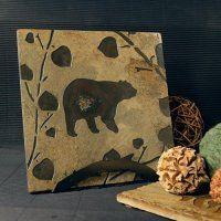 Rustic Stone Trivet: Bear in Aspens - $28.50