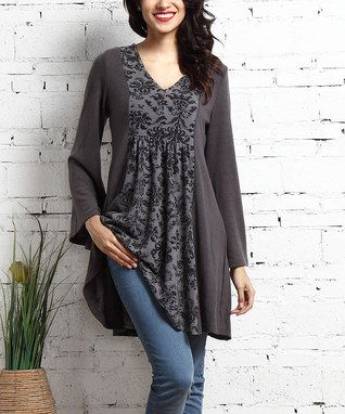 Charcoal Damask-Panel V-Neck Tunic