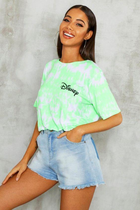 Disney Licence Neon Slogan T-Shirt   Boohoo