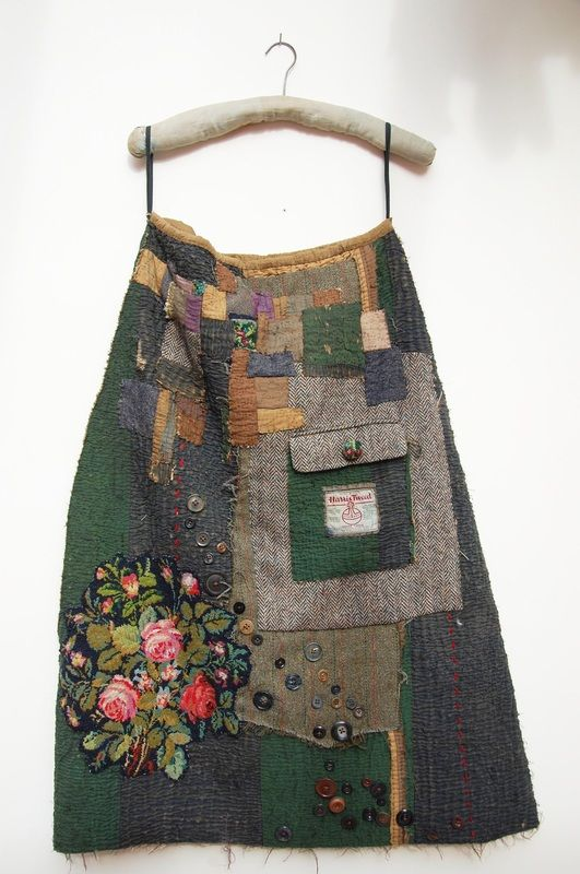 Old quilts made into garments, making old garments more precious, manipulation, embellishment, up-cycling.  http://www.mandypattullo.co.uk/-garments.html