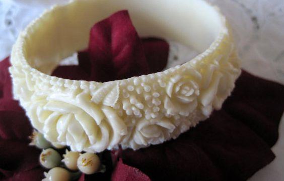 Vintage Carved White Plastic Bangle Bracelet by VintagObsessions, $27.00