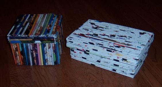 recycled magazine crafts | Recycled magazine box