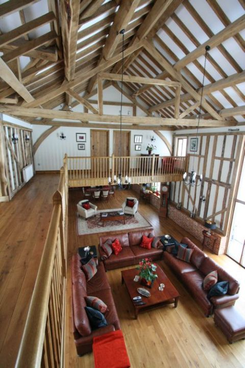 Contemporary barn conversion built in a traditional style and set in tranquil open farmland, Essex