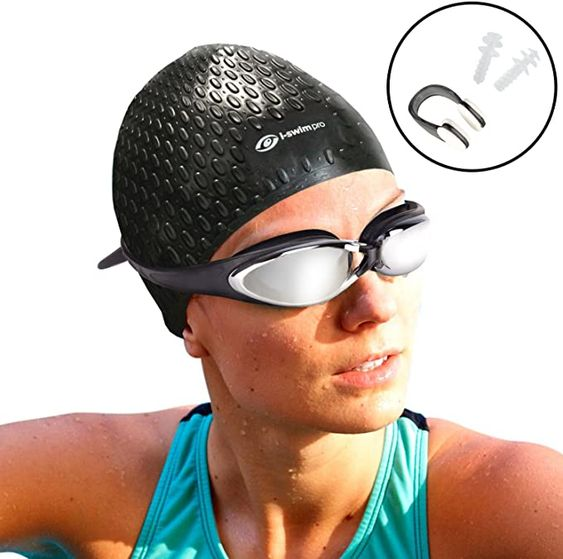 Amazon Com I Sports Pro Long Hair Swimming Cap Nose Clip And Ear Plugs Comfortable Fit Easy On Easy Off Sports Ou Swim Caps Swimming Pro Swimming