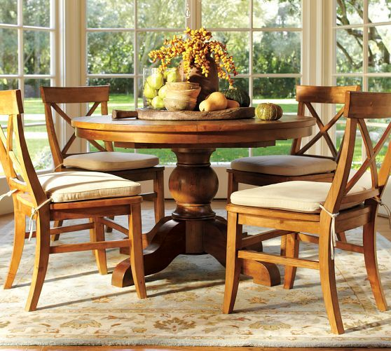 sumner pedestal table aaron chair set pottery barn