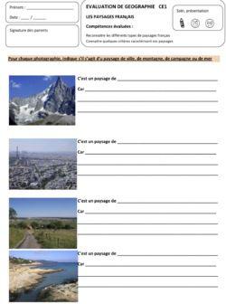 Evaluation sur les paysages fran ais social studies for Paysage francais