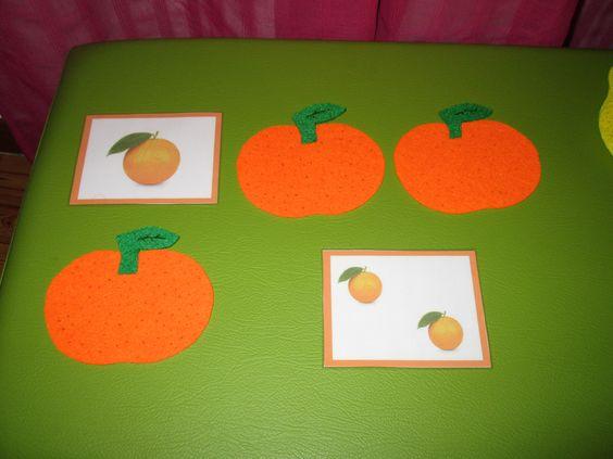 Jogo dos frutos: 1 laranja, 2 laranjas