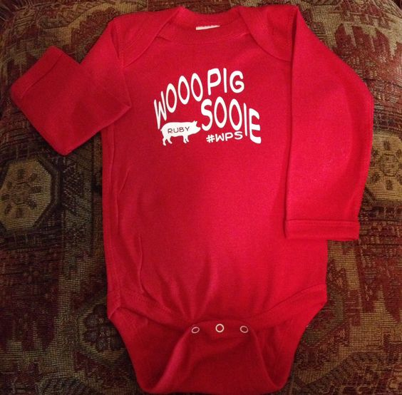 Razorback kids t-shirt. Can be customized with your child's name inside the little pig.