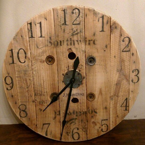 Wooden spool wall clock hodiny pinterest assiettes pochoirs et caf for Grande horloge murale solde
