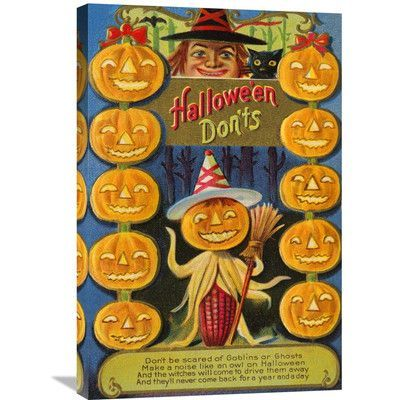 Global Gallery 'Hallowe'en Don'ts' by Halloween Vintage Advertisement on Wrapped Canvas Size: