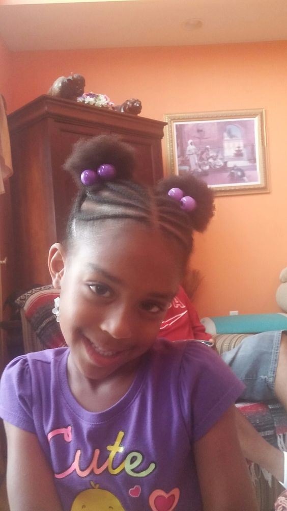kids cornrows into puff ponytails