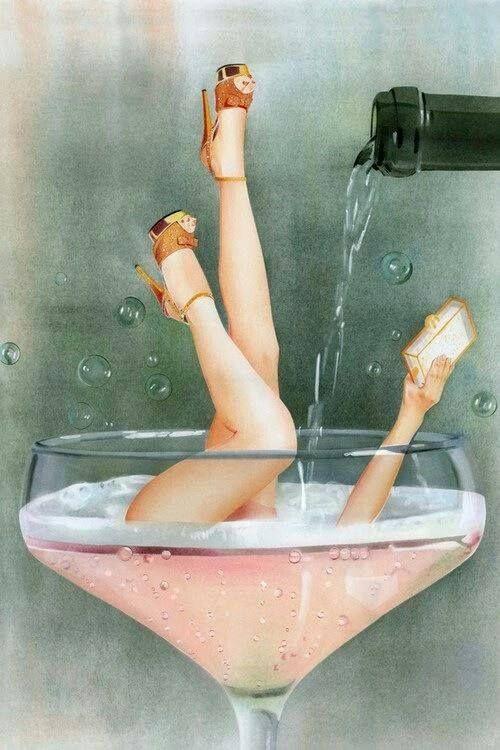 aí eu me afogo numa taça de champanhe...: