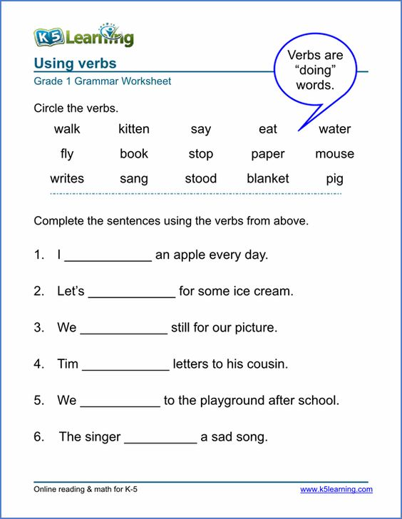 Printables Worksheets To Learn English printable verb worksheets from k5learning com teaching and com