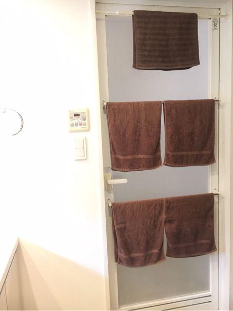 ヒーン 大失敗 浴室ドア外のタオル掛け タオル 浴室ドア 収納 アイディア