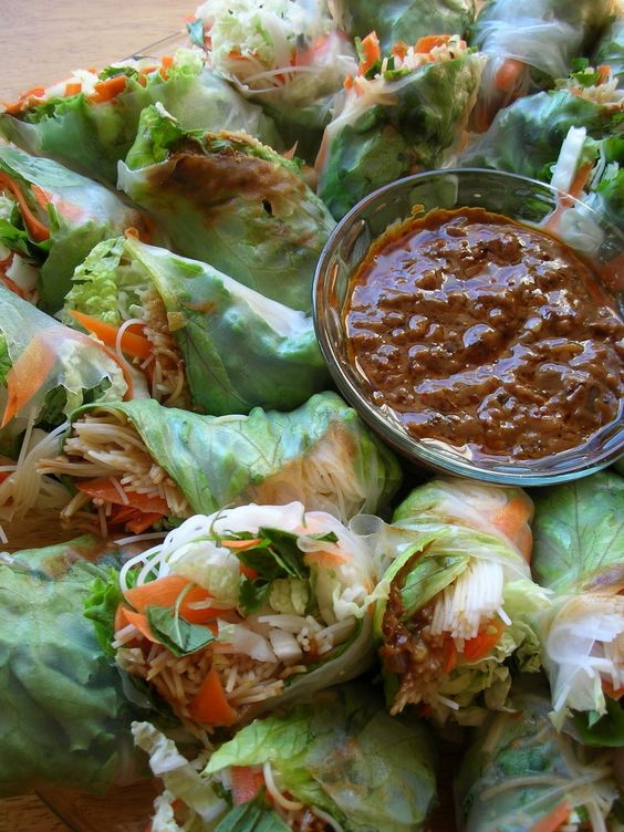 Spring Rolls with Spicy Peanut Sauce.