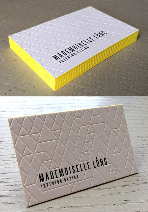 Deeply Embossed Geometric Line Texture On An Edge Painted - Letterpress Business Card