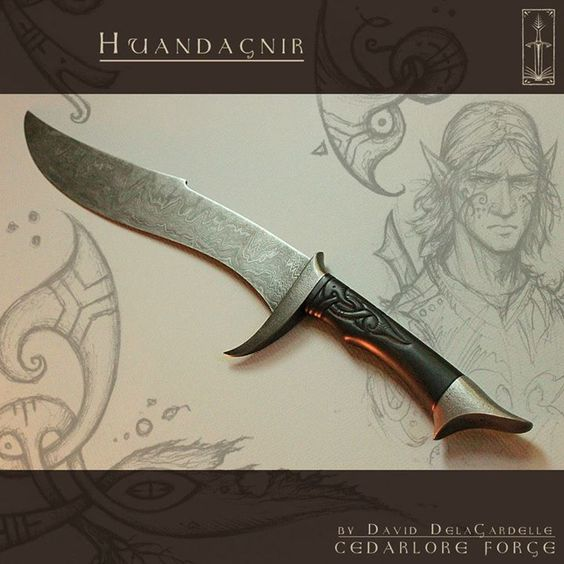 """Fantasy dagger. """"Forged by David DelaGardelle of Cedarlore Forge, Huandagnir (Elvish meaning """"Bane of the Hound"""") is a short-sword dagger, an Elven blade of the darkwoods. Cold, keen, light and swift, a lively long-lived weapon, used by a young elf soldier who hunts the hounds that seek the blood of his people. A blade born in bravery, brought forth to bite and cleave the hide of any hellish Northern Hound that would dare show claw or tooth against the mighty Elven tribe that forged it."""""""