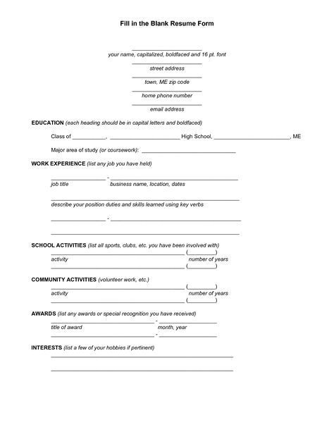 Image Result For Blank Resume Fill Up Form Student Resume