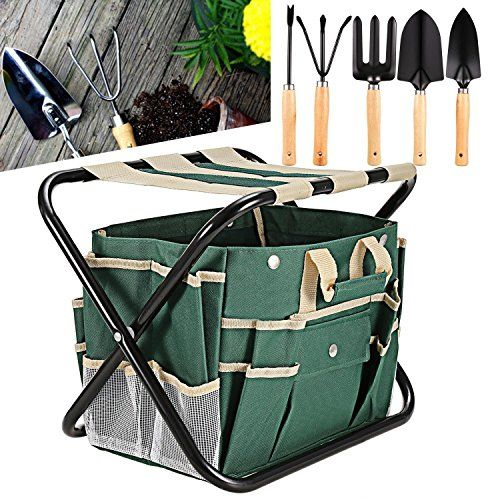 Garden Tools Best Tool Set Equipment Gardening Foldable Stool With Bag 7 Pieces
