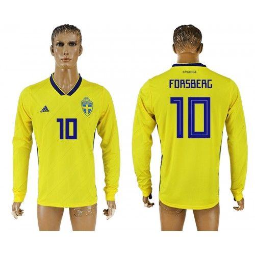 Sverige Emil Forsberg 10 Replika Hemmatröja Herr VM 2018