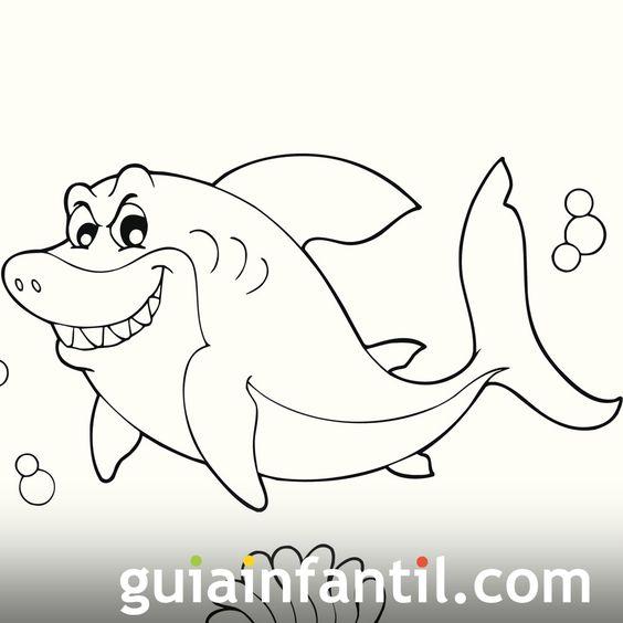 Dibujo de un tiburón para colorear - Dibujos de animales ...