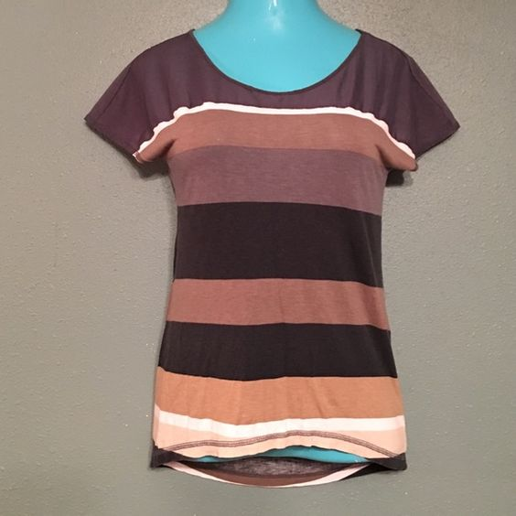 Multicolored blouse with Sheer Shoulders This top wears like a t-shirt but has beauty and flare. With a little bling it can be dressed up for a day at work. a.n.a Tops Blouses